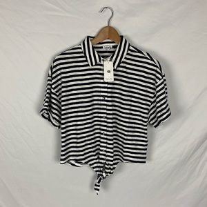 NWT Anthro Splendid Navy Striped Cropped Tie Top